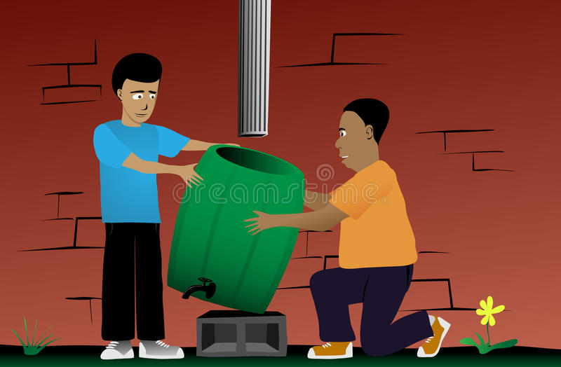 Father and Son Rain Barrel Installation Project stock illustration
