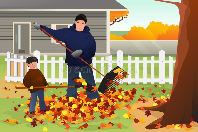 Father and Son Raking Leaves in the Yard During Fall Season stock illustration