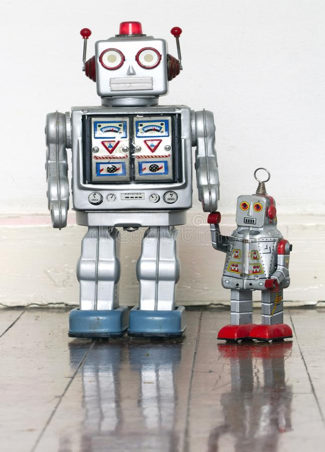 Father and son robot toys royalty free stock images