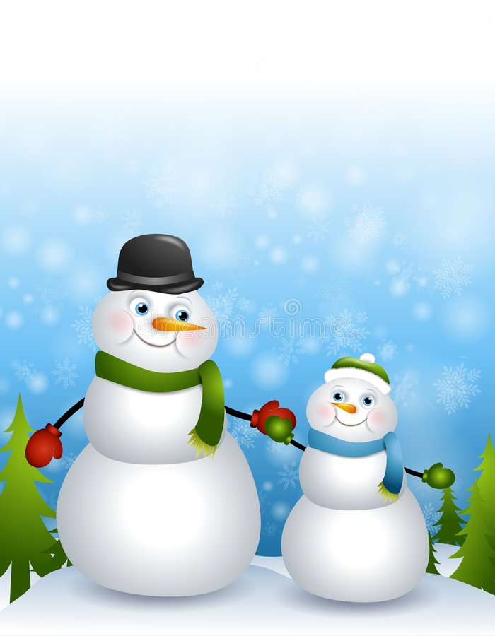 Father Son Snowmen. A clip art illustration featuring a father and son snowman theme - holding hands in the snow and looking at each other with love and caring stock illustration