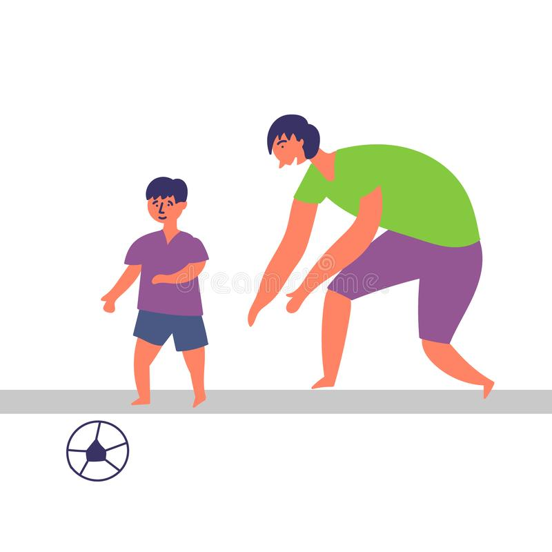 Father and son spend time together. Playing football. EPS 10 vector editable illustration vector illustration
