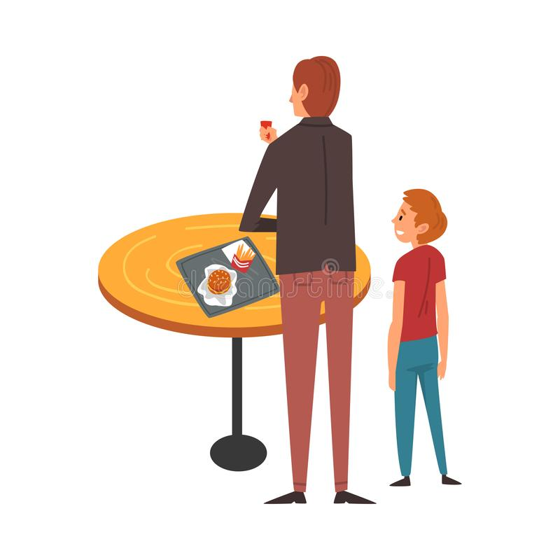 Father and Son Standing near Table and Eating in Food Court in Shopping Mall Vector Illustration. On White Background royalty free illustration