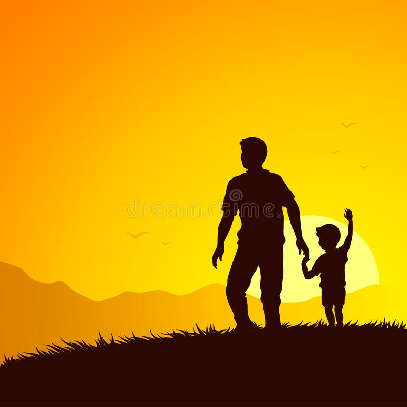 Father and son summer adventure royalty free illustration