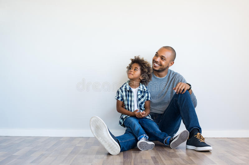 Father and son thinking stock image