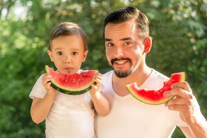 Father and son together eating watermelons, both man and kid are holding slices of juicy watermelons, green leaves in background royalty free stock photo