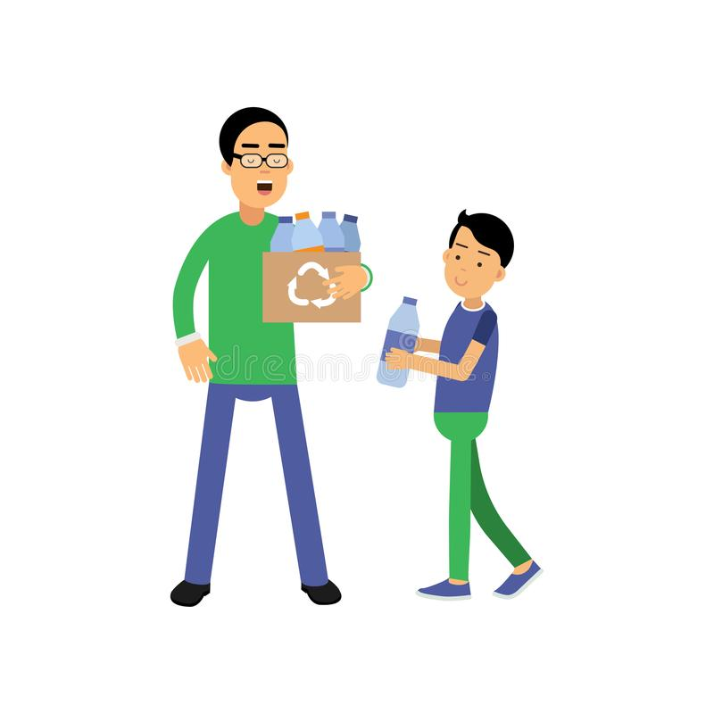 Father and son volunteers cartoon characters collecting plastic bottles for recycling, flat style vector illustration