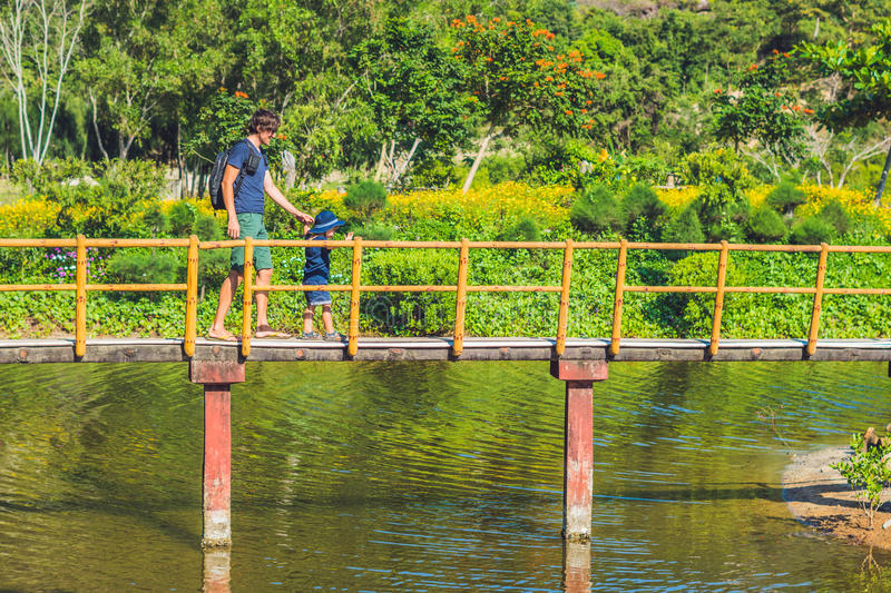 Father and son are walking along the bridge over the pond. Traveling with children concept stock images