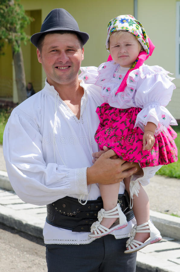 Father and son wearing traditional clothing royalty free stock photos