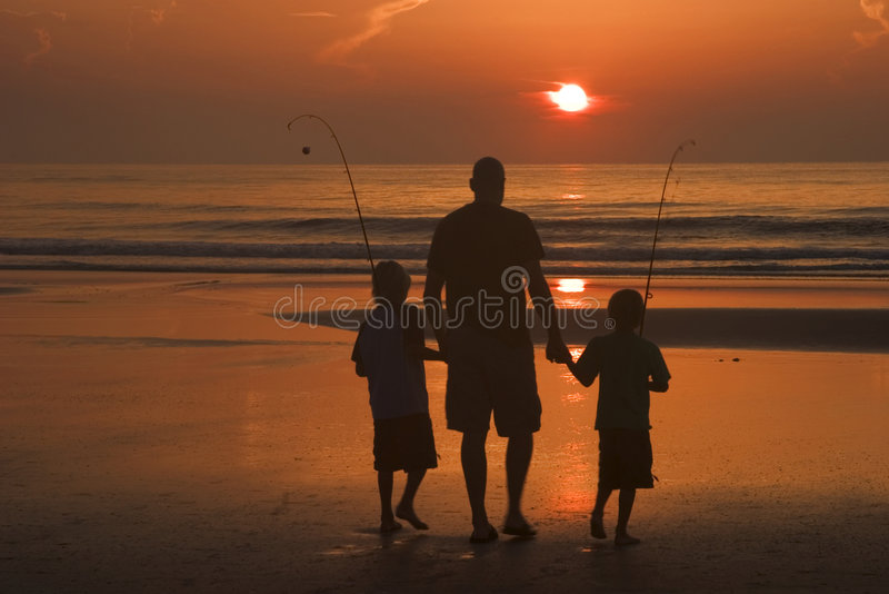 Father and sons. Going fishing