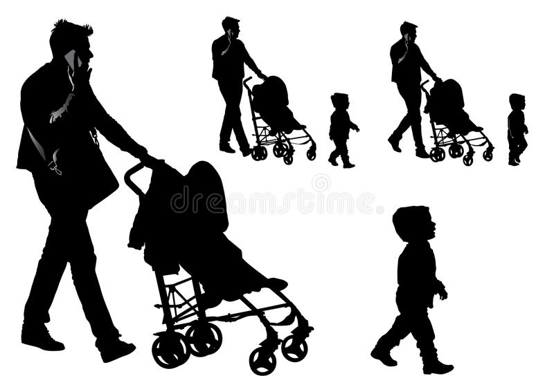 Father with a stroller and a baby. Father walking with a baby in a stroller royalty free illustration