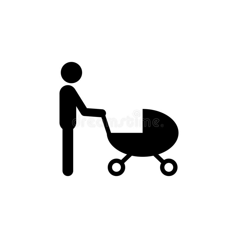 father with a stroller icon. Elements of happy family icon. Premium quality graphic design icon. Signs, symbols collection icon fo stock illustration