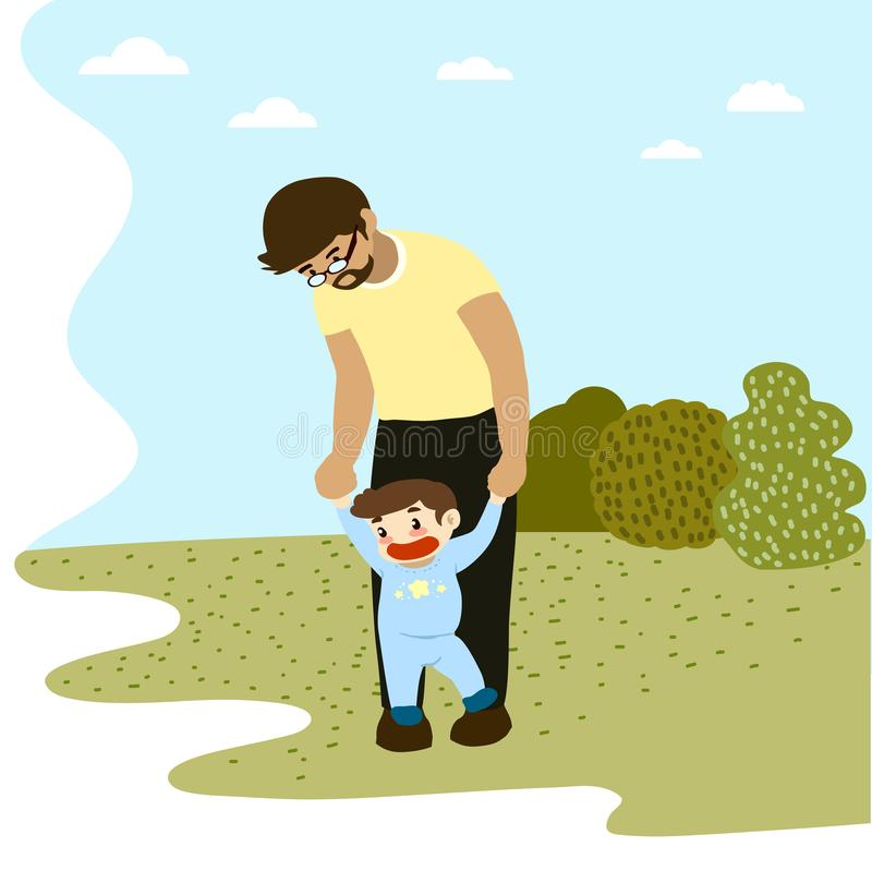 Dad taking toddler for a walk in the park vector illustration