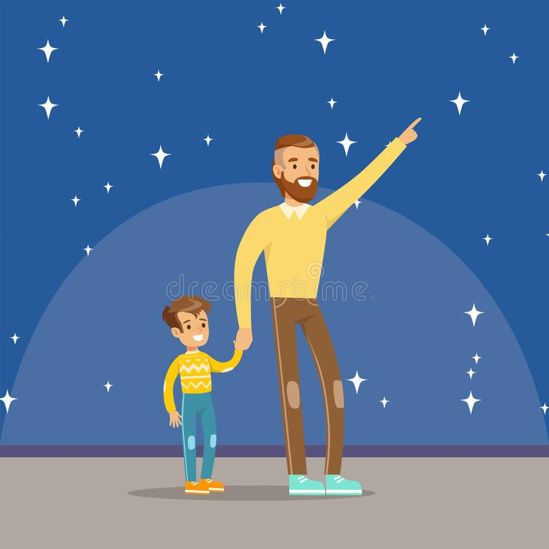 Father telling his son about the stars at the planetarium. Horizontal vector Illustration vector illustration