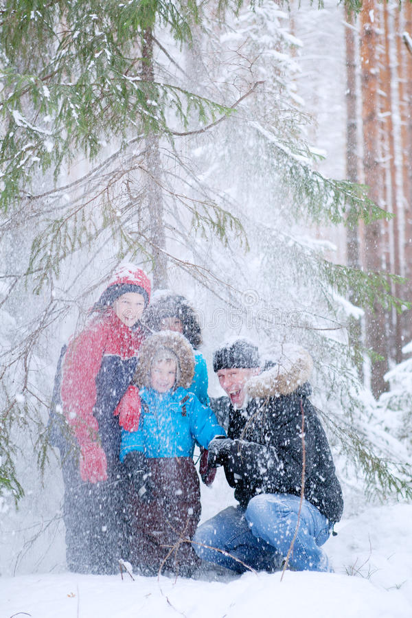 Father And Three Sons In  Winter Forest Stock Images