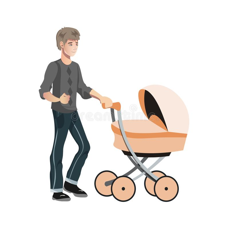 Father with toddler in the pram. Vector illustration in a flat style vector illustration