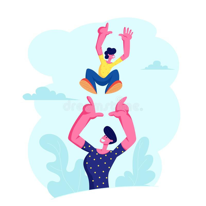 Father Tossing Up High Air Joyful Baby Boy, Healthy Child Outdoors Activity, Active Lifestyle, Having Fun with Family on Vacation royalty free illustration