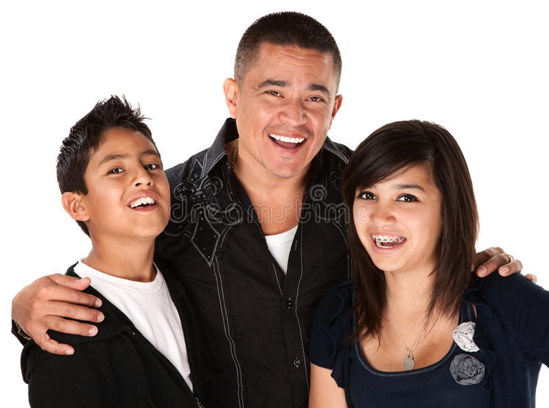 Father with Two Children. Smiling Hispanic father with happy children on white background stock photography