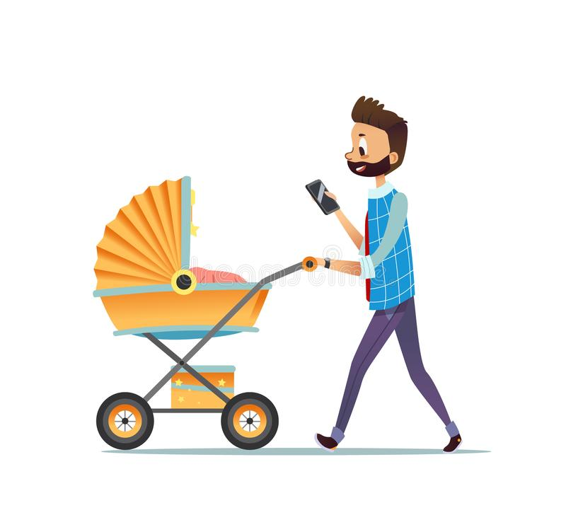 Father walking with child lying in pram and texting message on smartphone. Dad carrying stroller with his newborn baby stock illustration