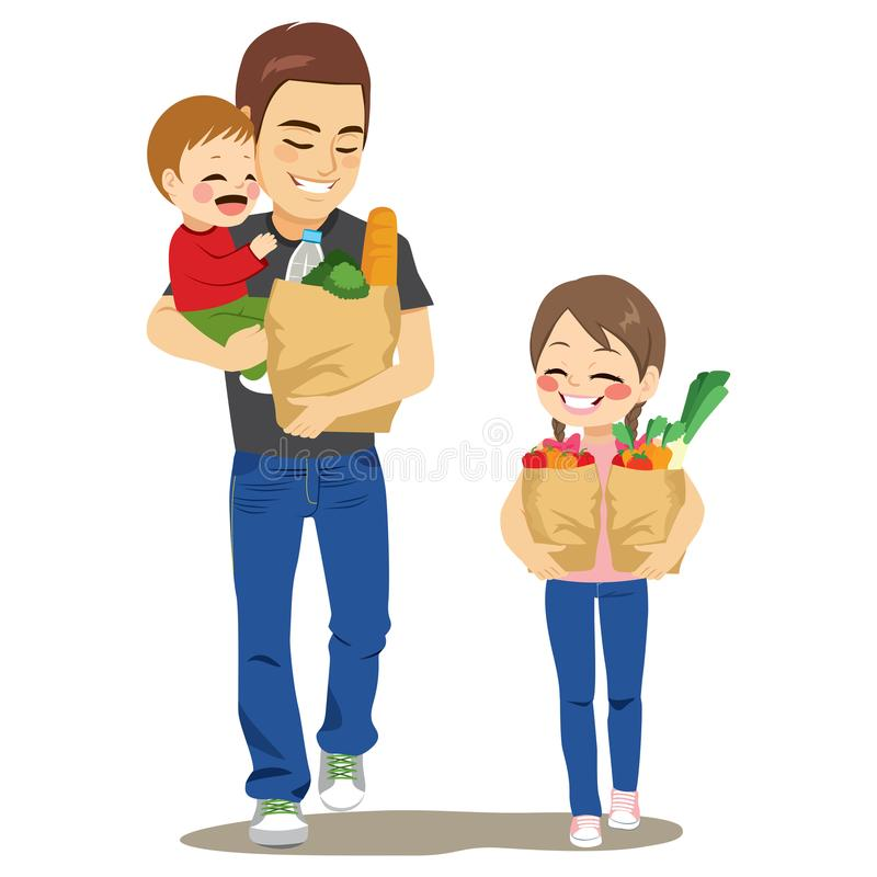 Father Grocery Shop With Kids. Father walking with kids holding baby boy and paper grocery bag full of vegetables water bread and helper daughter vector illustration