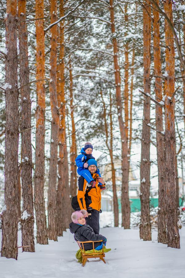 Father walks with his young children in the woods in winter stock image