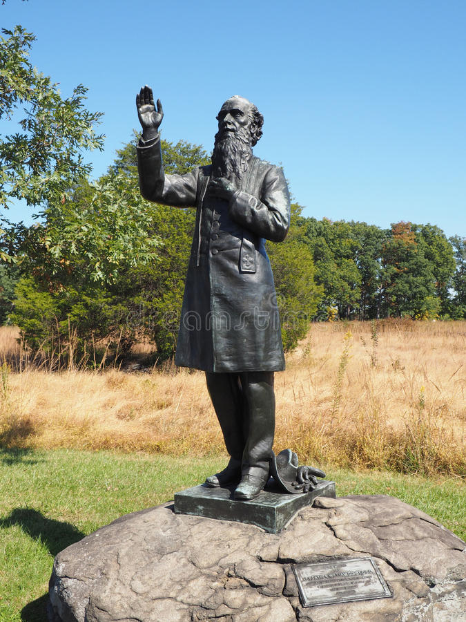Father William Corby statue in Gettysburg. Gettysburg, PA - October 15: Father William Corby statue stock photos