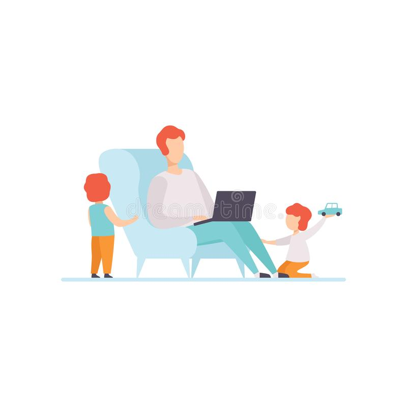 Father Working on Laptop Computer While Sitting on Sofa at Home, His Sons Playing Next to Him, Freelancer, Parent stock illustration