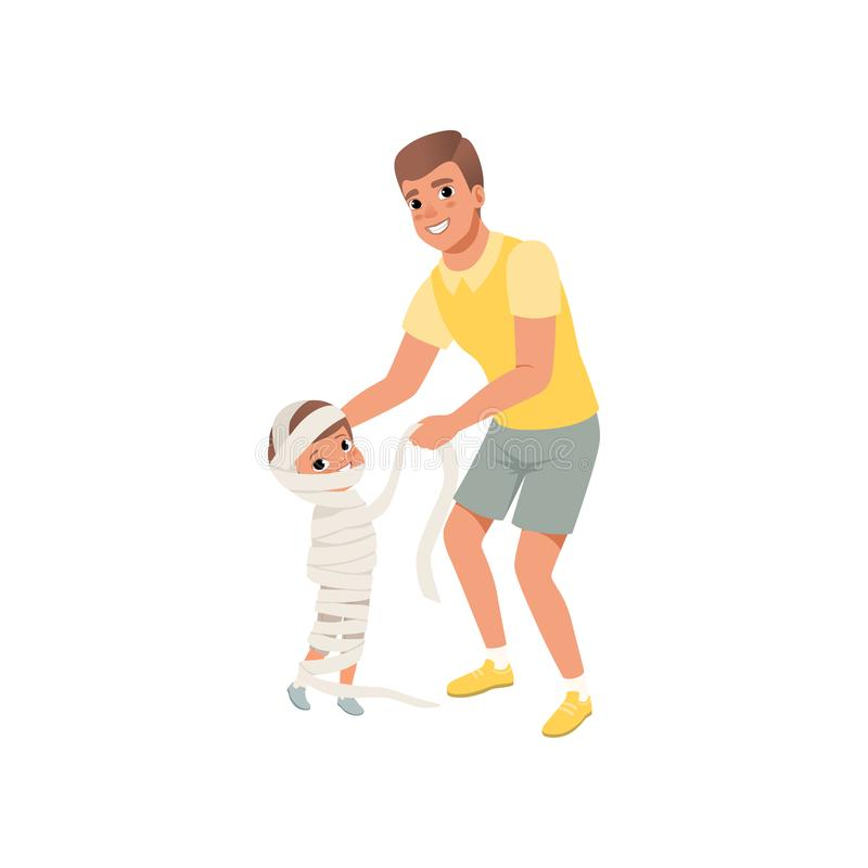 Father wrapped in bandages his little son, cute Halloween costume, loving dad and kid spending time together vector vector illustration