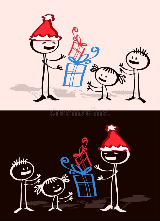 Father Xmas & kids stock illustration