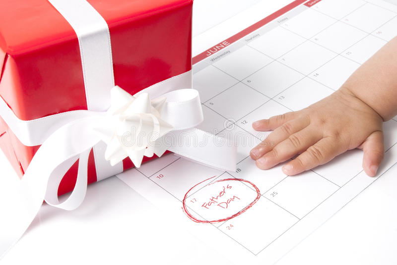 Fathers Day. Gift box with calendar showing Fathers day
