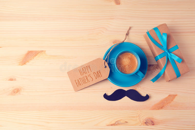 Fathers Day Background With Coffee Cup And Gift Box On ...