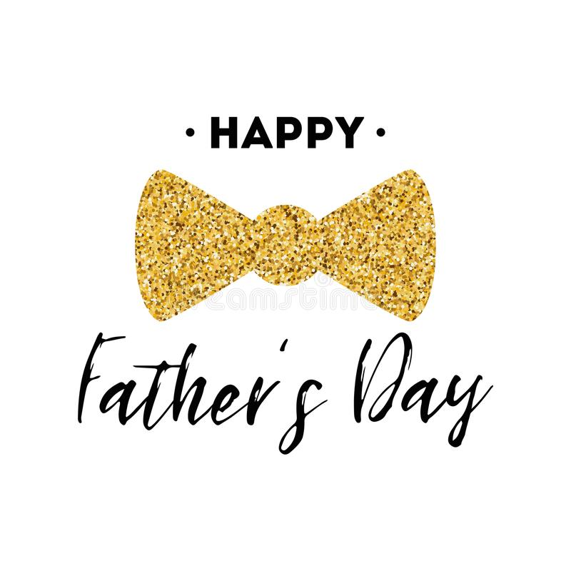 Fathers Day Card Design With Lettering, Golden Bow Tie Butterfly ...