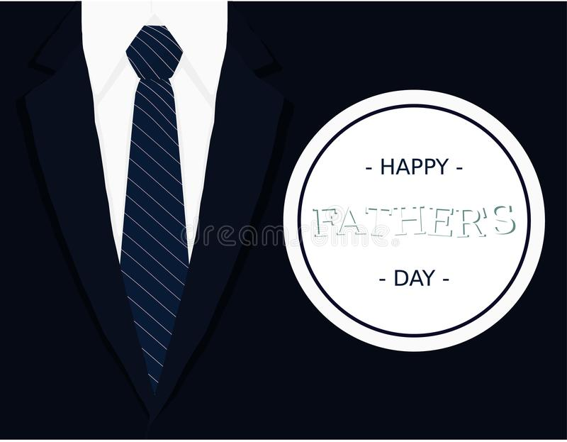 Fathers day calligraphic banner greeting card with dark blue tie light grey white shirt and navy blue blazer vector illustration royalty free stock photo