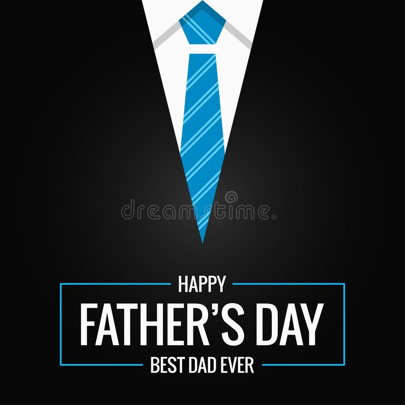 Fathers day card on black background royalty free illustration