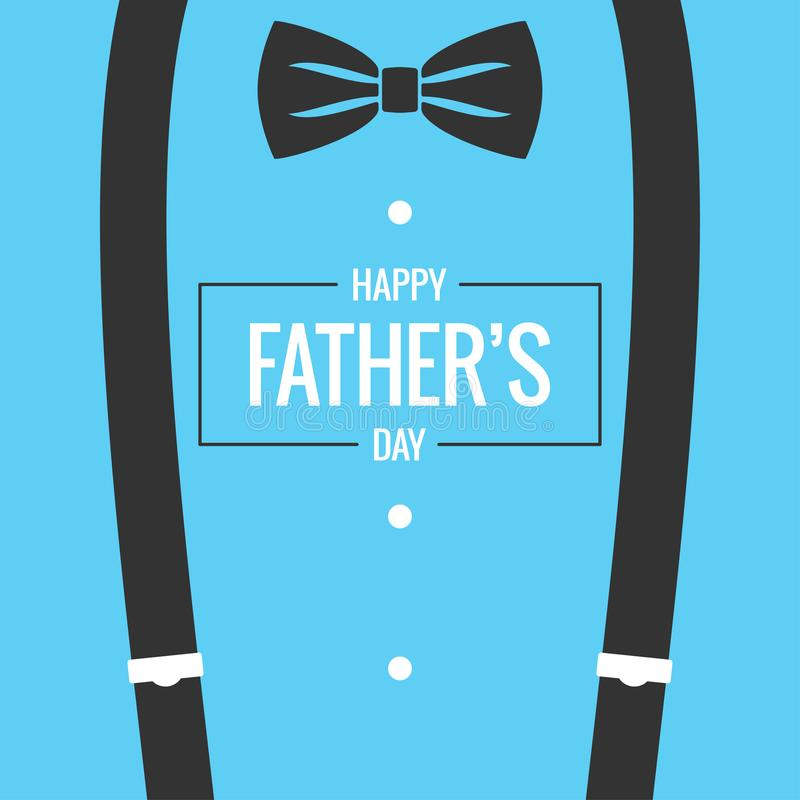Fathers day card with bow tie and suspenders background vector illustration