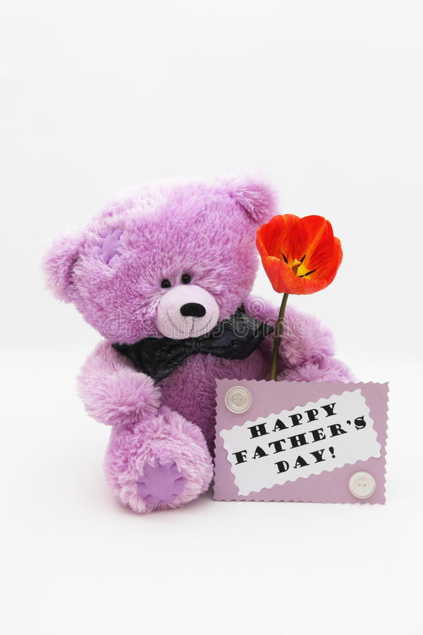 Fathers day card with Happy father day text - Sto. Fathers day card with Happy father day text and Teddy bear with red tulip on light background stock photography