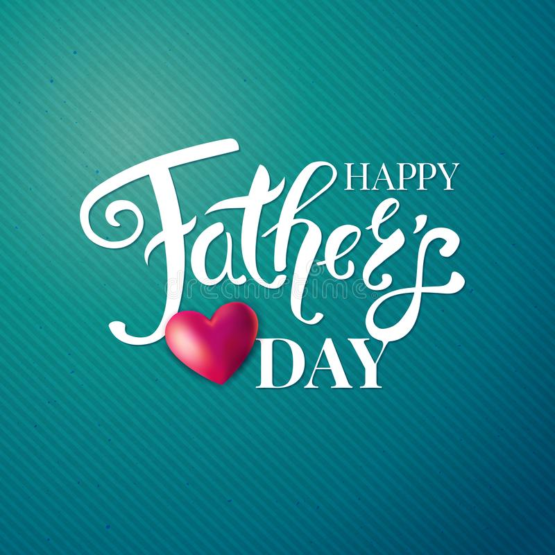 Fathers day card. White typographic text and red heart. royalty free illustration