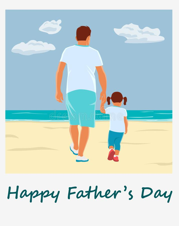 Free Fathers Day Concept. Father And His Little Daughter Walking Hand In Hand. Stock Images - 185511874
