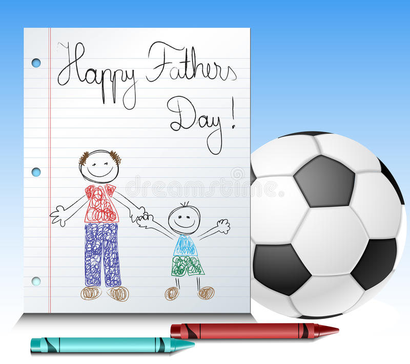 Fathers day kid drawing with ball and crayons stock illustration