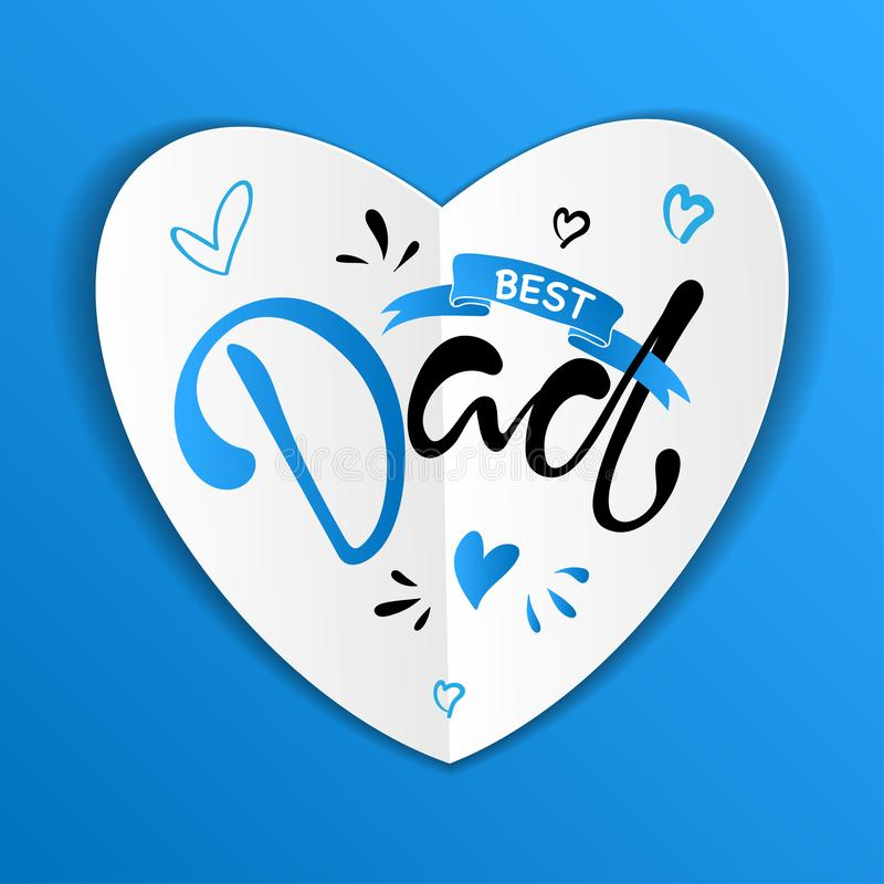 Fathers Day Lettering Calligraphic Design. vector illustration