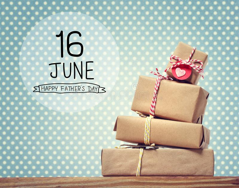 Fathers Day message with gift boxes. Fathers Day message with stack of gift boxes royalty free stock image