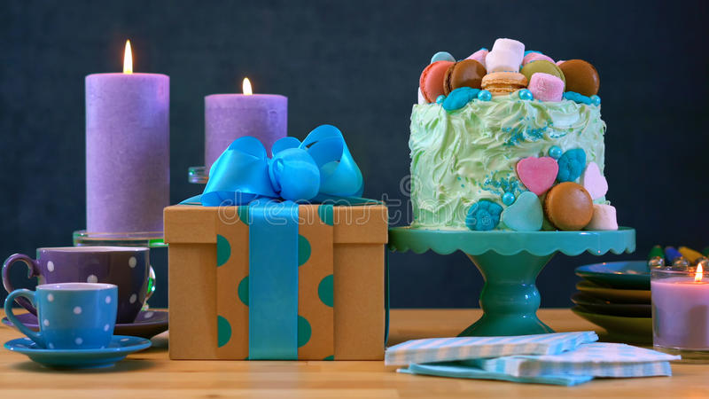 Fathers Day party table with cake and gifts. royalty free stock photo