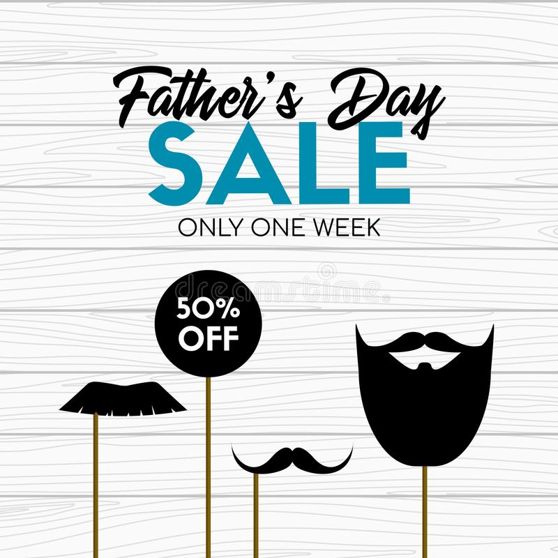 Fathers day sale card. Vector banner with photo props on wooden background royalty free illustration