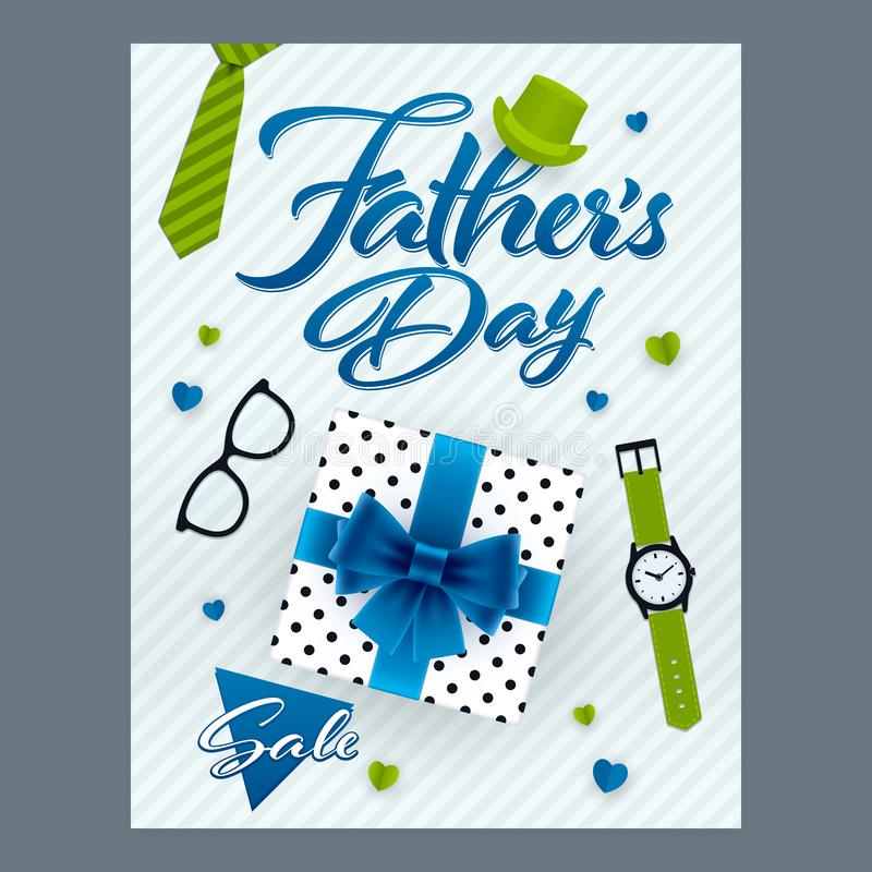 Fathers Day sale vertical ornate banner vector illustration