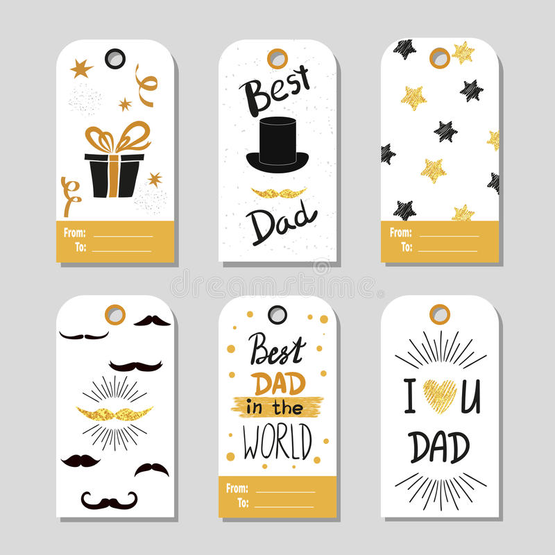 Fathers day set in gold and black. Collection of gift tags. royalty free illustration