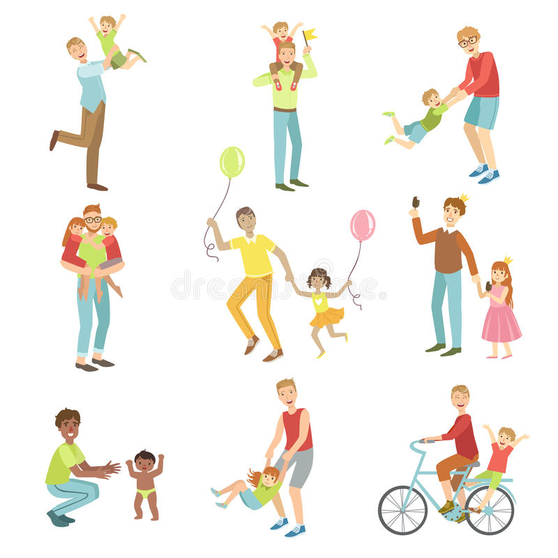 Fathers Playing With Kids Set Of Illustrations royalty free illustration