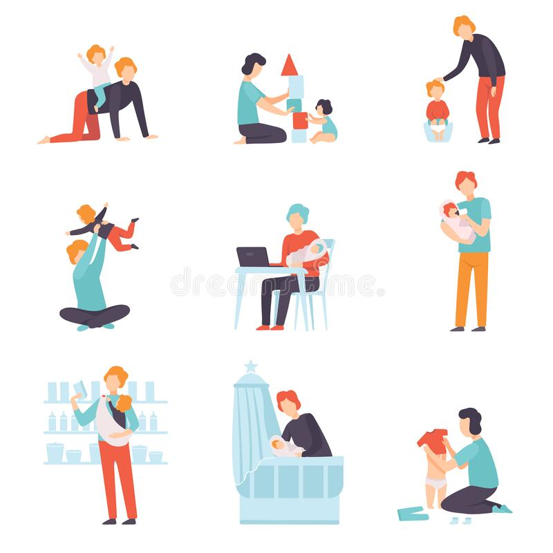 Fathers Taking Care of Their Babies Set, Young Dads Feeding, Playing, Having Fun and Working with Son or Daughter Vector. Illustration on White Background royalty free illustration