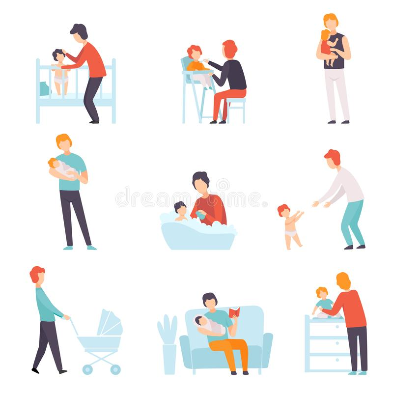 Fathers Taking Care of Their Babies Set, Young Dads Feeding, Playing, Walking with Son or Daughter Vector Illustration. On White Background stock illustration