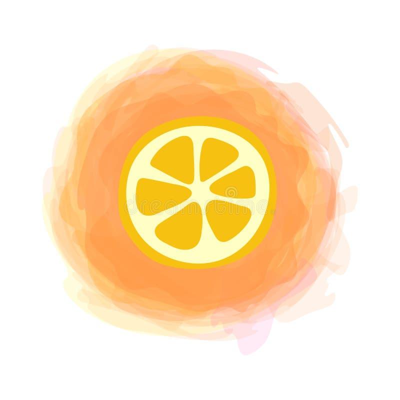 Fatia alaranjada Esboce o fruto isolado no fundo redondo da aquarela Vetor tirado m?o da garatuja Etiqueta do alimento biol?gico  ilustração stock