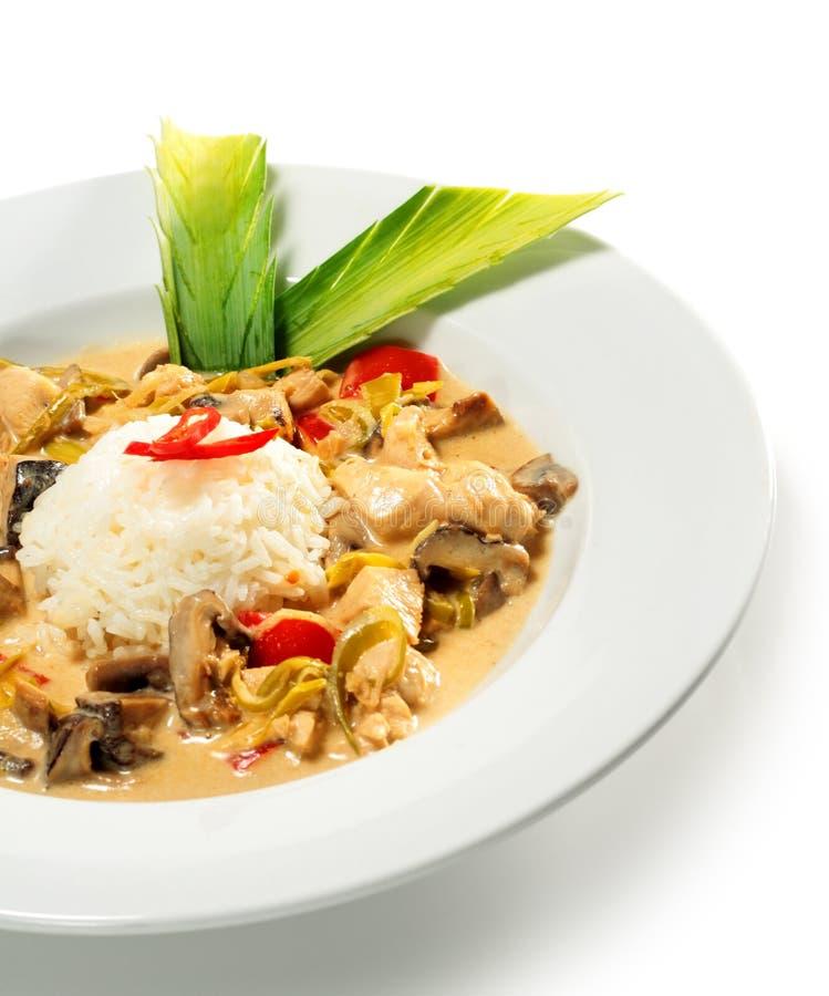 Fatia assada da galinha com montão do arroz foto de stock royalty free