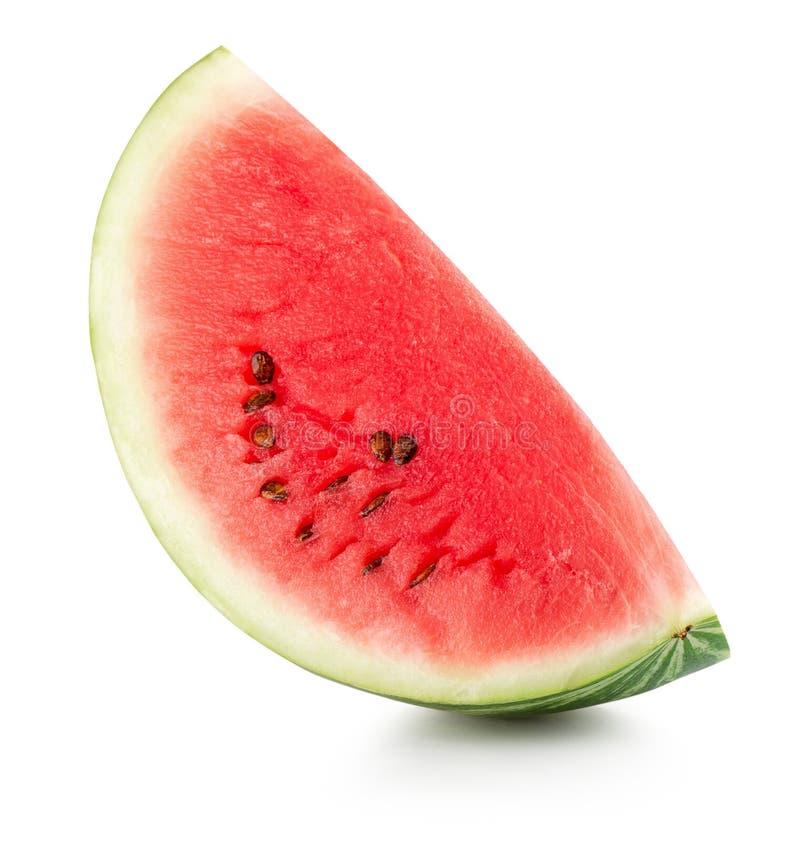 Fatia da melancia isolada no fundo branco imagem de stock